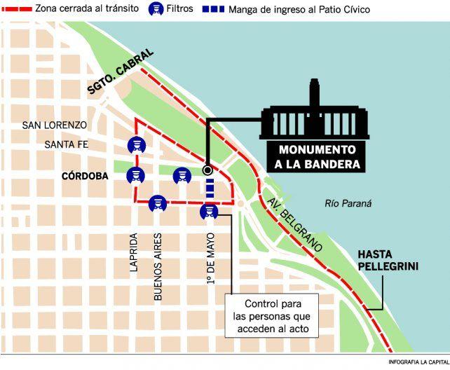 Macri encabeza un Día de la Bandera atípico y con un fuerte operativo de seguridad