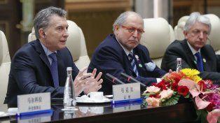 Macri durante su disertación ante empresarios chinos.