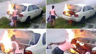Prendió fuego un auto pensando que era el de su exnovio, pero se equivocó y terminó mal
