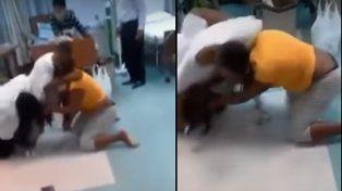 Se encontró con la amante de su marido en el hospital y la agarró a las trompadas