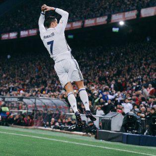 El festejo de Cristiano Ronaldo, la gran figura de Real Madrid ante el Atlético.