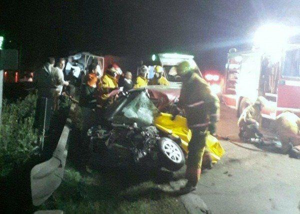 Las huellas del tremendo accidente en la Ruta 33