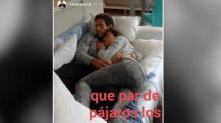 In fraganti. La imagen de Jimena y Delpo durmiendo la siesta muy unidos.