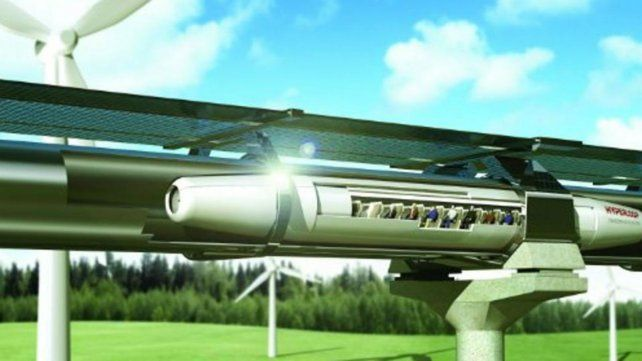 Futurista. Imagen de computadora del Hyperloop de Musk.