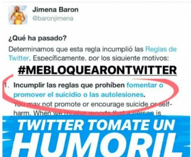 Bloquearon la cuenta de Twitter de Jimena Barón por un inoportuno posteo