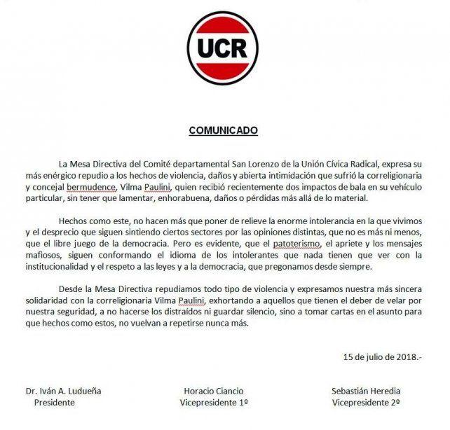 La UCR repudió el ataque a balazos al auto de una concejala