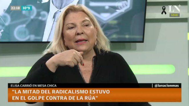 La legisladora Elisa Carrió habló de la denuncia de la monja Martha Pelloni a La Cámpora.
