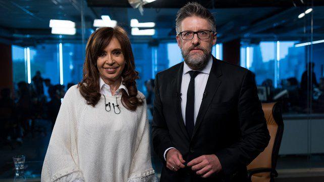 Cristina Fernández de Kirchner y Luis Novaresio
