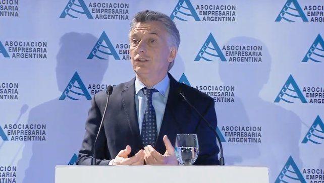 El presidente Mauricio Macri habló hoy enIV jornada de la Asociación Empresaria Argentina.