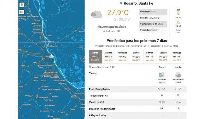 Alerta meteorológico por tormentas fuertes para el sur provincial