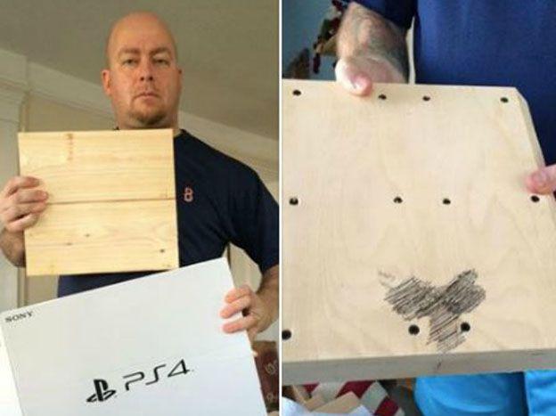 Compró una PlayStation y recibió un pedazo de madera