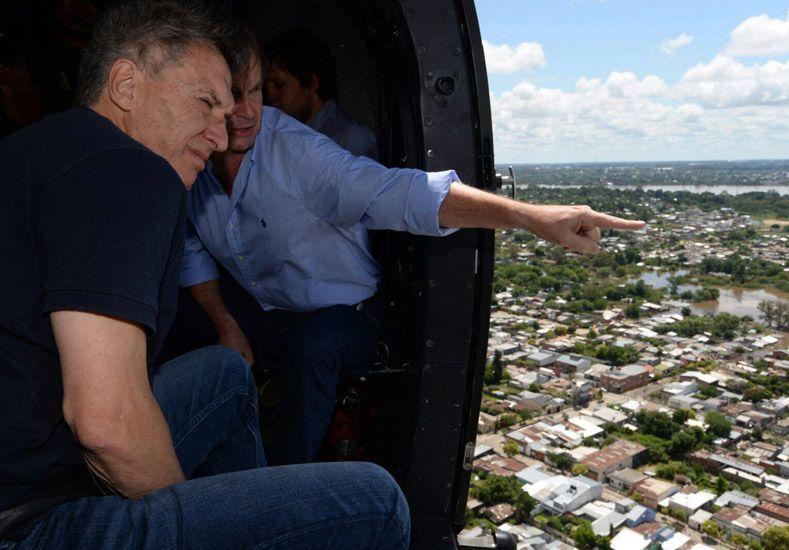 Macri y Bordet sobrevolaron Concordia este domingo. (Foto: Télam)