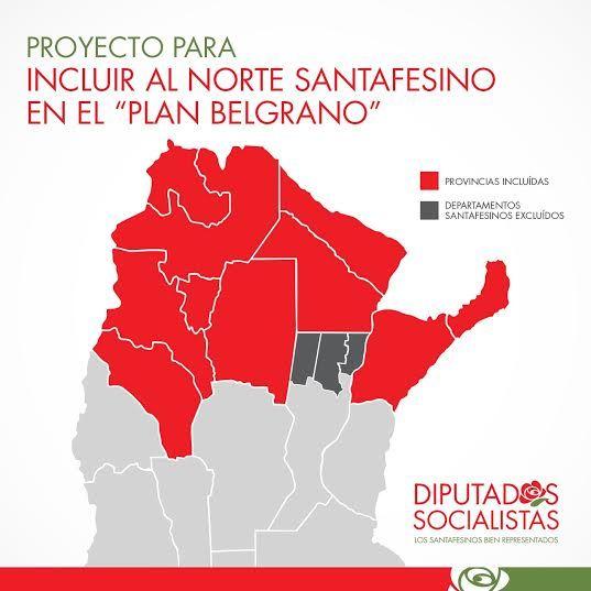 El mapa del Plan Belgrano. Inclusión es lo que reclaman los legisladores santafesinos para los tres departamentos del norte.
