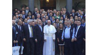 La reunión que encabezó la semana pasada el papa Francisco con jueces y referentes de la lucha contra el crimen organizado en Roma. (Télam)
