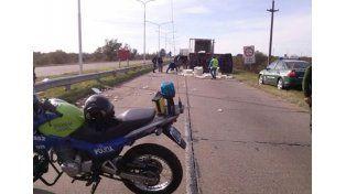 Volcó un camión cargado con pollitos bebé en la ruta 168
