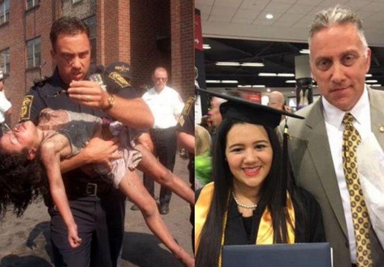 En 1998 la salvó de un incendio y ahora fue a verla graduarse en la facultad