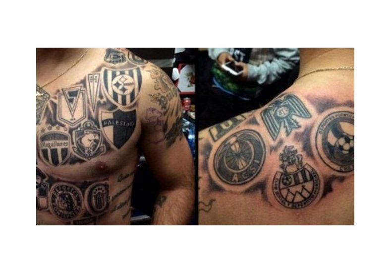 Se tatuó los escudos de los 16 equipos en los que jugó