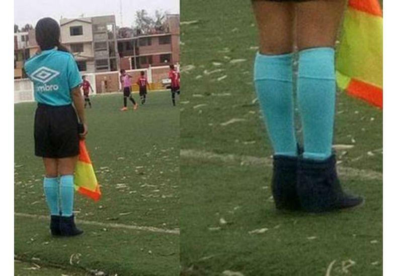 Dirigió un partido con botas