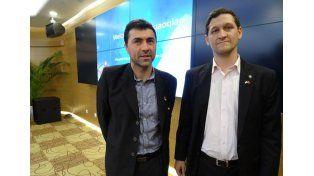 Delegación. Los funcionarios provinciales Braga y Neri en la presentación en Shangai / Foto: Gentileza Gobierno de la Provincia de Santa Fe