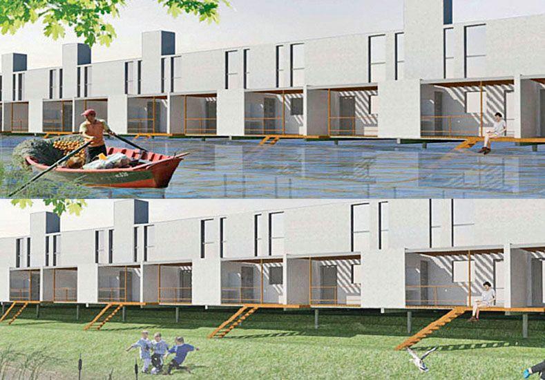 En la Vuelta del Paraguayo. En el proyecto de relocalización de familias se piensa construir dos caminos perpendiculares al ingreso principal –todos en cota segura– y luego las 80 viviendas. La parte trasera mirará hacia el río que cuando este bajo será un gran espacio verde (imagen de arriba) y en época de crecida