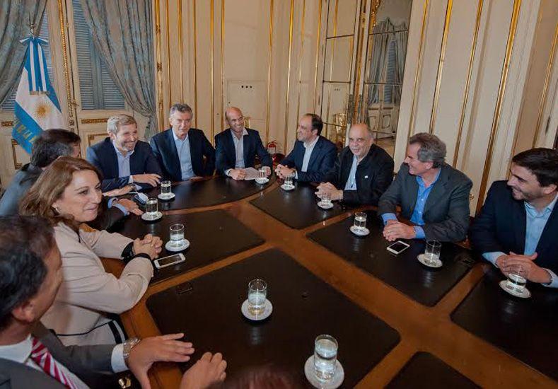 Reunión. El Presidente recibió a los intendentes