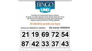 Números del BINGO UNO de la semana del 9 al 13 de Mayo