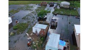La crecida en Laguna Paiva vista desde un drone