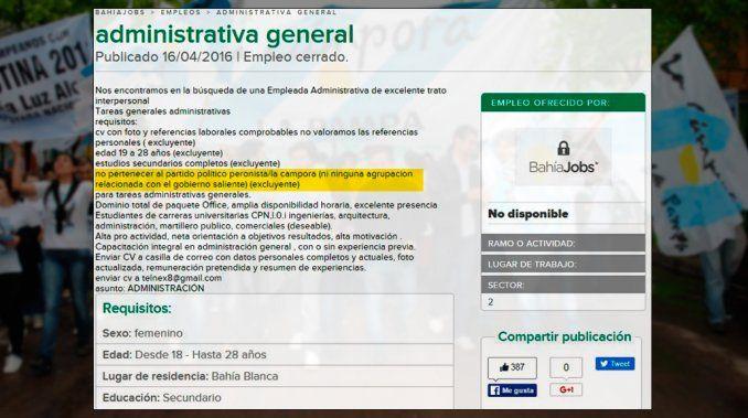 Insólita oferta laboral: consideran excluyente pertenecer a un partido político argentino
