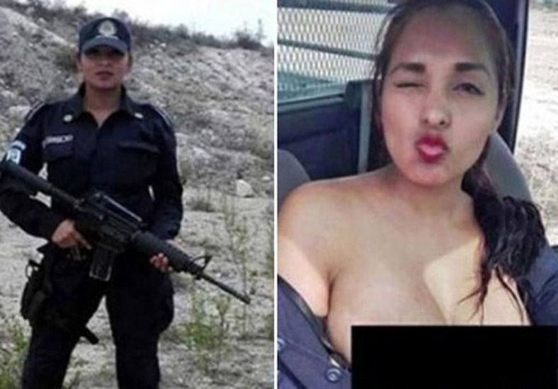 Escándalo: mujer policía posó desnuda en patrullero