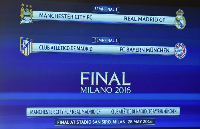 El cuadro muestra las llaves de semifinales de la Champions tras el sorteo. (Foto: AP)
