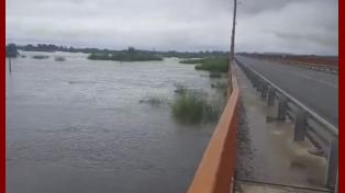 Así se ve el río Salado en la ruta 70