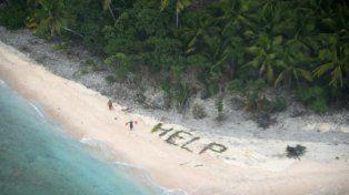 Providencial. El mensaje escrito por los navegantes en la arena.