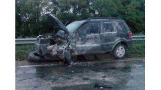 Así quedó el  auto Ford Ecosport siniestrado. Foto lector.