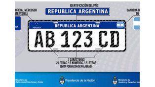 La patente del Mercosur viene con dos letras, tres números y dos letras más