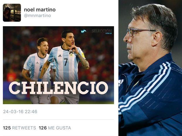 La hija del Tata Martino encendió la polémica con un tuit tras el partido con Chile.