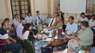 La reunión paritaria realizada este lunes en la sede de la cartera de Trabajo en la ciudad de Santa Fe.