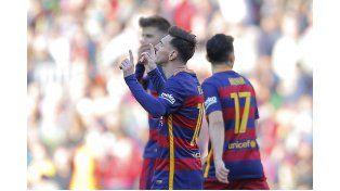Lionel festeja su gol ante el Getafe. Fue el cuarto para Barcelona. (Foto: Reuters)