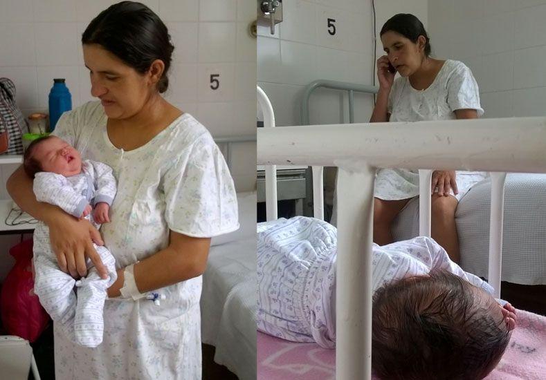 La flamante mamá con su bebé./ gentileza Radio EME.