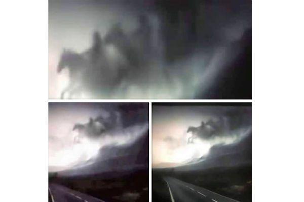 Pánico en un poblado por la aparición de los cuatro jinetes del Apocalipsis sobre la ruta