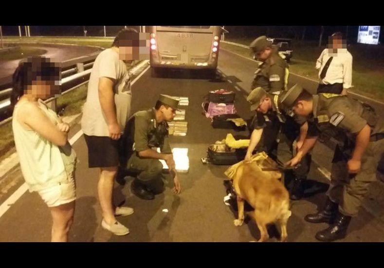Gendarmería incautó más de 60 kilos de marihuana que trasladaban en un micro