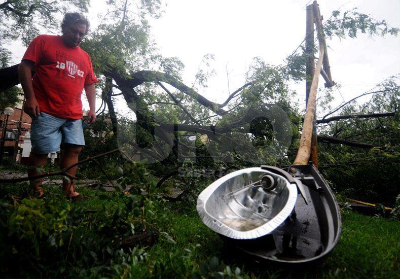 Sin piedad. El temporal provocó destrozos. Los árboles caídos ocasionaron daños en el alumbrado público. UNO/Manuel Testi