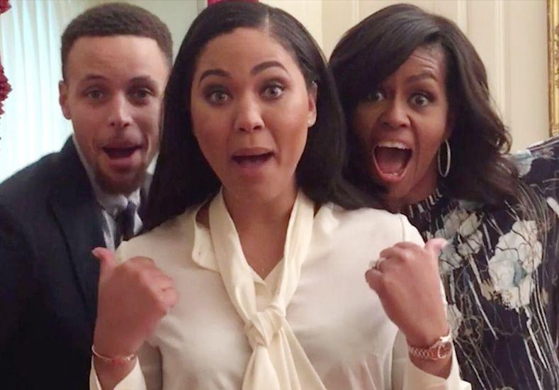 Stephen Curry imita a los Minions con su esposa y Michelle Obama