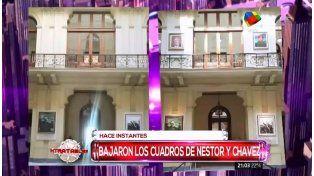 El gobierno descolgó cuadros de Néstor Kirchner y Hugo Chávez de la Casa Rosada