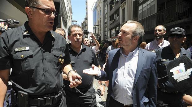 Martín Sabbatella en el edificio de la ex Afsca. / Foto:Télam