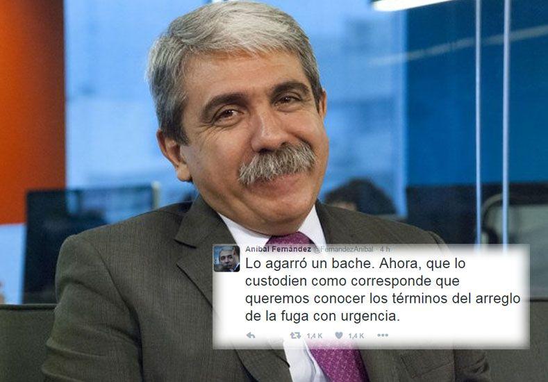 Aníbal Fernández, irónico tras la captura de Martín Lanatta: Lo detuvo un bache
