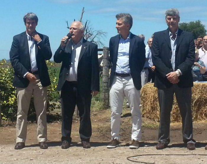 El gobernador Miguel Lifschitz recibió al presidente Macri en Venado Tuerto.