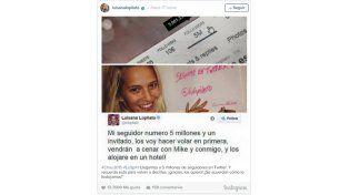 El generoso regalo de Luisana Lopilato a su seguidor Nro 5.000.000