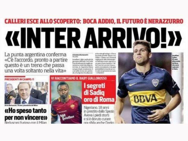 Calleri es portada de un diario italiano y se va de Boca