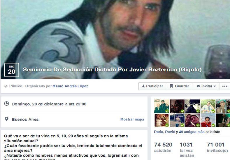 Ahora un perfil en Facebook promociona un seminario sobre seducción a cargo del gigoló