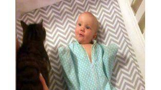 Mirá la reacción de una beba al conocer a la gata de su familia